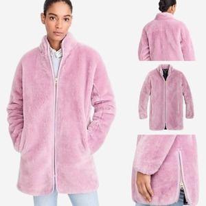 J. Crew Zip Up Plush Teddy Faux Fur Fleece Coat